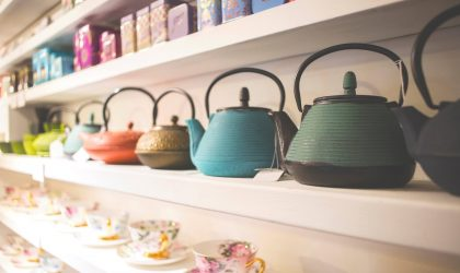 Tea pots and cups on display at Samovar Tea House